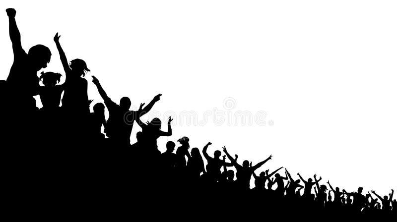 Folla di calcio, fan di acclamazione, fondo della siluetta di vettore Pallacanestro, hockey, baseball, pubblico dello stadio royalty illustrazione gratis