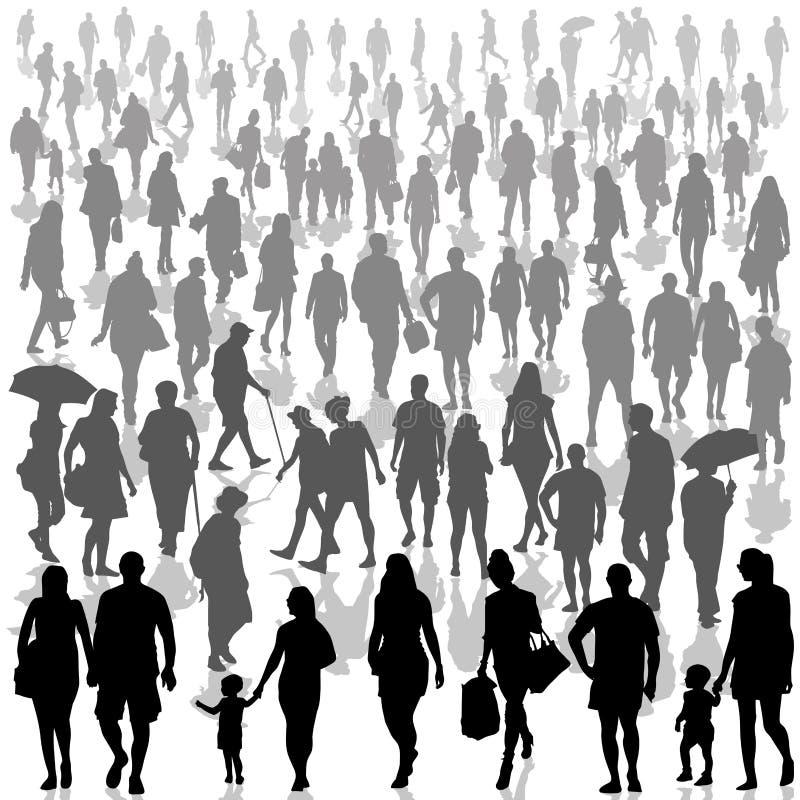 Folla di camminare della gente royalty illustrazione gratis
