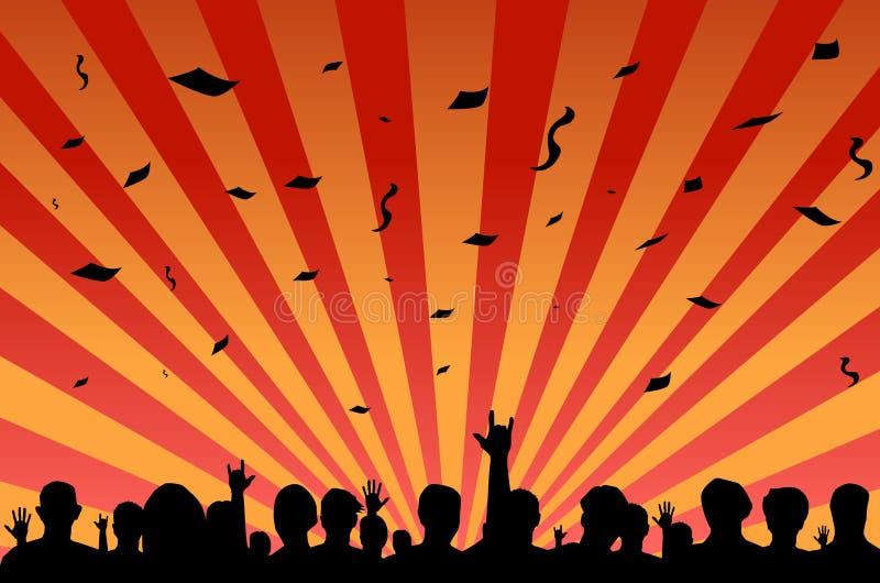 Folla di festival del partito illustrazione vettoriale