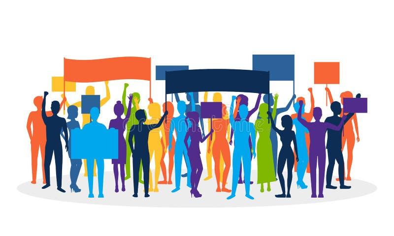 Folla di protesta di colore della siluetta Vettore illustrazione vettoriale