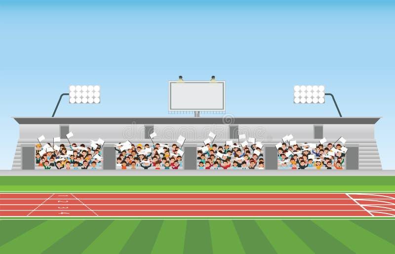 Folla nella tribuna dello stadio allo sport incoraggiante illustrazione di stock