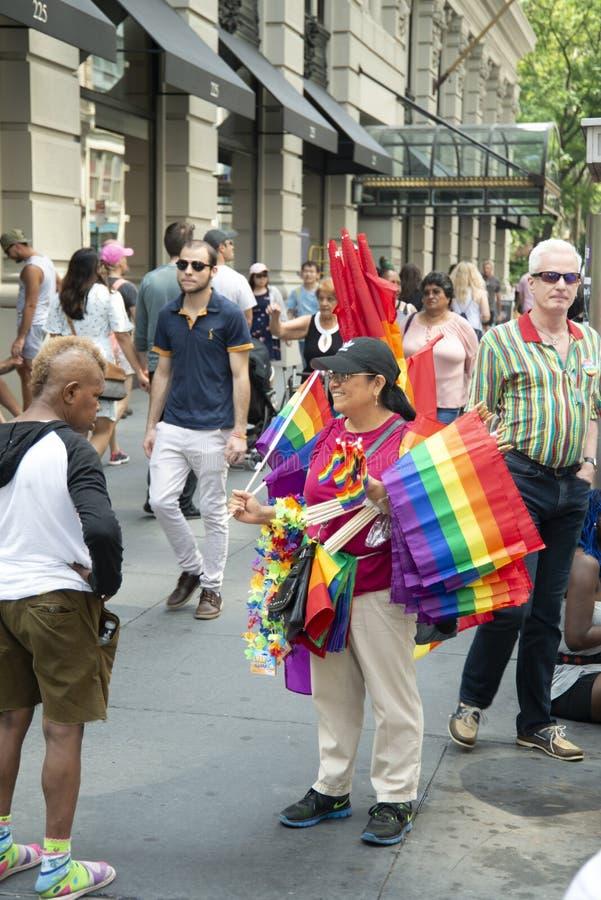 Folla a New York 2018 Pride Parade fotografia stock libera da diritti