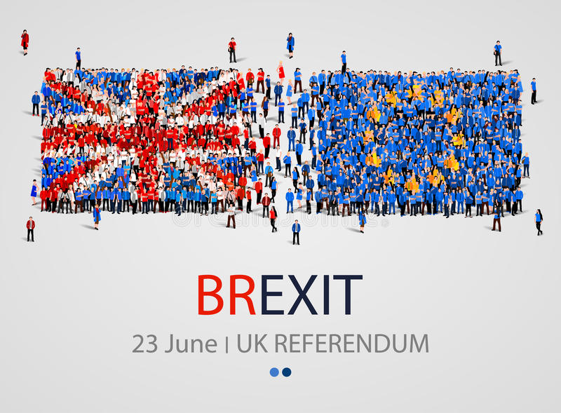 Folla o gruppo di persone nella forma di bandiere di Europa e di Britannici Unione Europea del Regno Unito Brexit illustrazione vettoriale