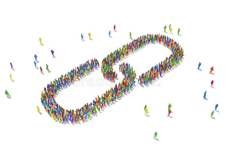 Folla umana che forma un simbolo a catena illustrazione vettoriale