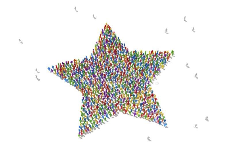 Folla umana che forma un simbolo della stella illustrazione di stock