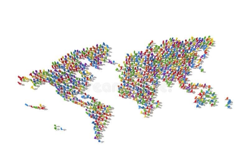 Folla umana che forma una mappa di mondo royalty illustrazione gratis