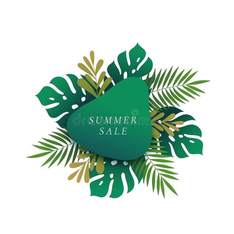 Follaje abstracto con pendiente y tipografía de la obra clásica Disposición de publicidad estacional Monstera y Fern Palm Tropica stock de ilustración