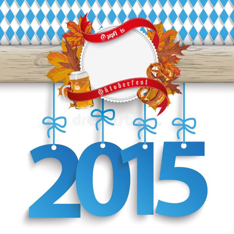 Follaje de madera bávaro 2015 de la bandera de Oktoberfest stock de ilustración