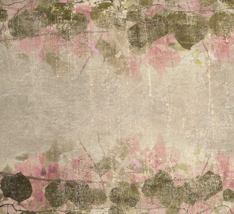 Follaje del bougainvillea del color de rosa en colores pastel de Grunge stock de ilustración