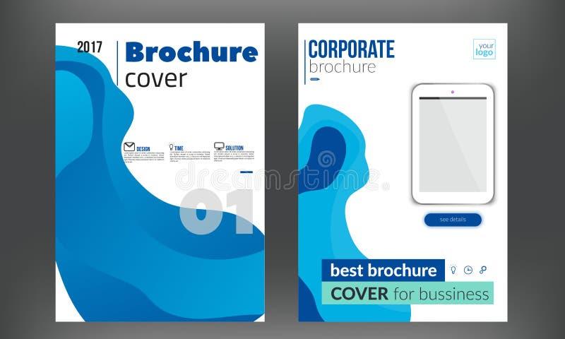 Folleto azul, folleto, colección de las plantillas del diseño de la cubierta de libro Ilustración del vector ilustración del vector