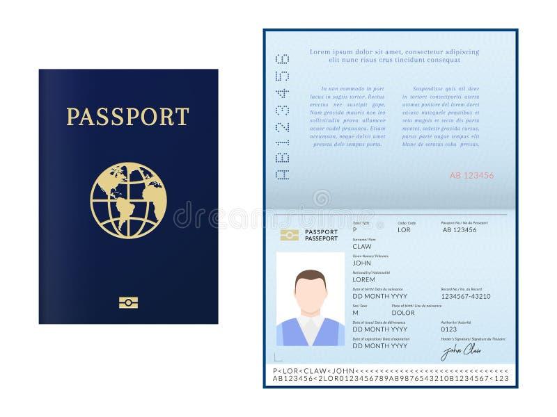Folleto biométrico masculino internacional del pasaporte libre illustration