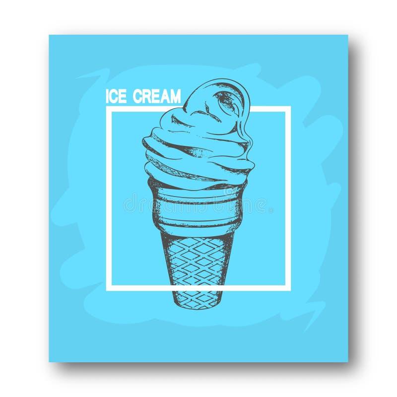 Folleto, cartel, aviador de publicidad Mano del cono de helado dibujada, en un marco blanco en un fondo azul calligraphy ilustración del vector