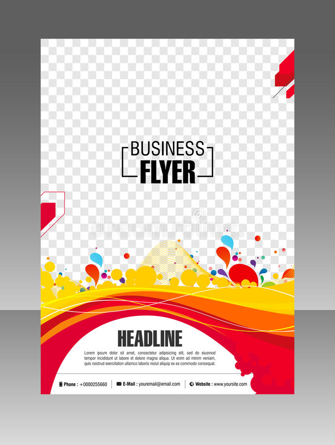 Folleto colorido del negocio de la disposición Aviador de la disposición, plantilla Ilustración común imagen de archivo libre de regalías