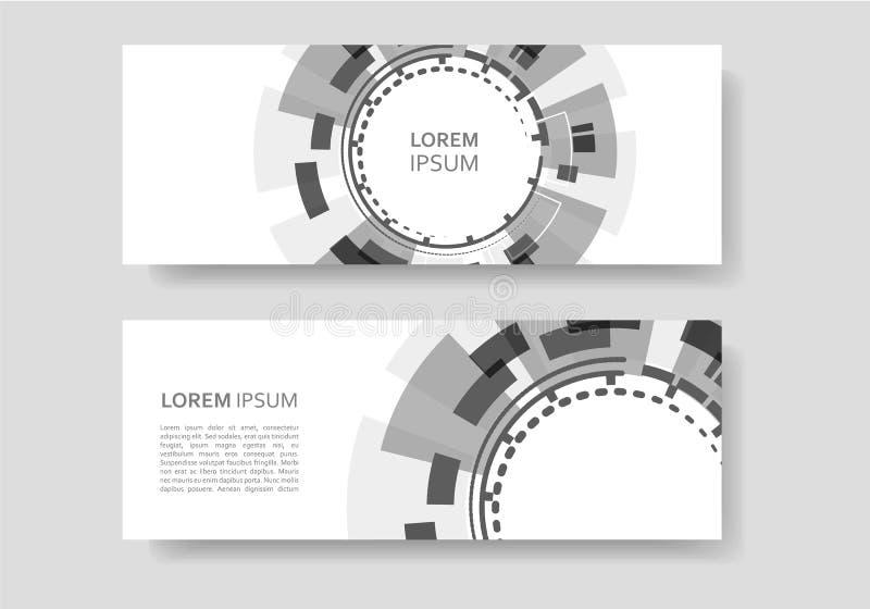 Folleto con el fondo redondo abstracto Diseño de la tecnología y de la industria stock de ilustración
