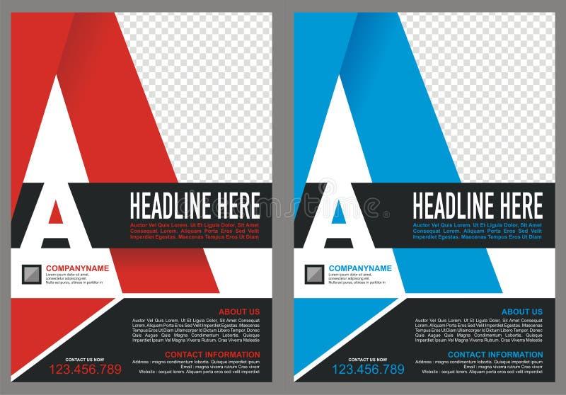 Folleto con la cubierta del estilo del logotipo del ` del ` A de la letra stock de ilustración