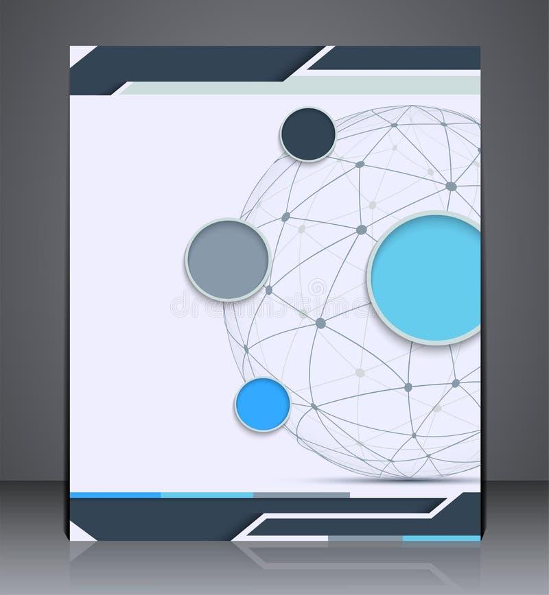Folleto de la disposición del vector con la esfera, plantilla del diseño del aviador, web stock de ilustración