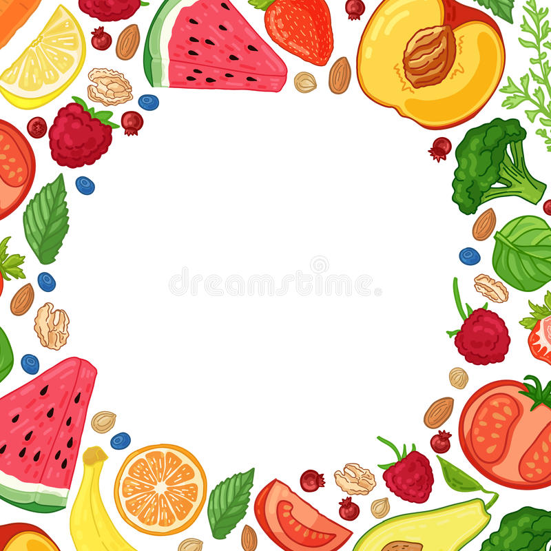 Folleto del diseño de la plantilla con la decoración de la fruta Modelo del círculo de comidas naturales ilustración del vector