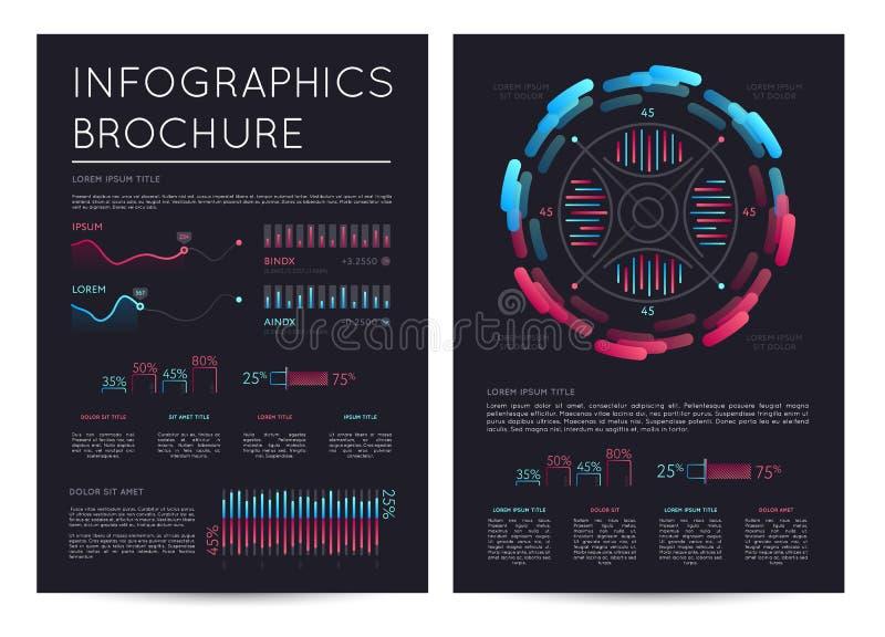 Folleto del infographics del negocio con las diversas cartas stock de ilustración