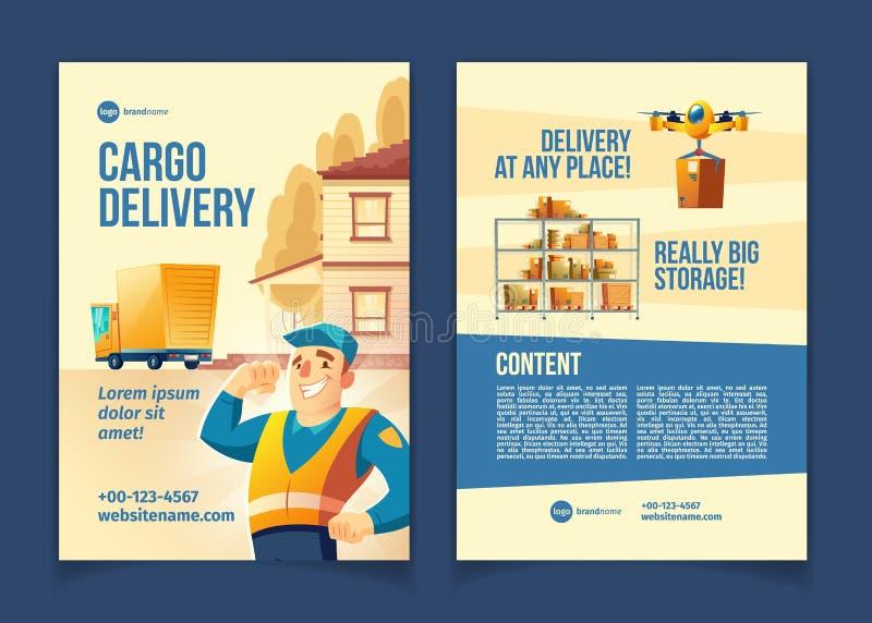 Folleto del vector de la historieta del servicio de entrega del cargo ilustración del vector