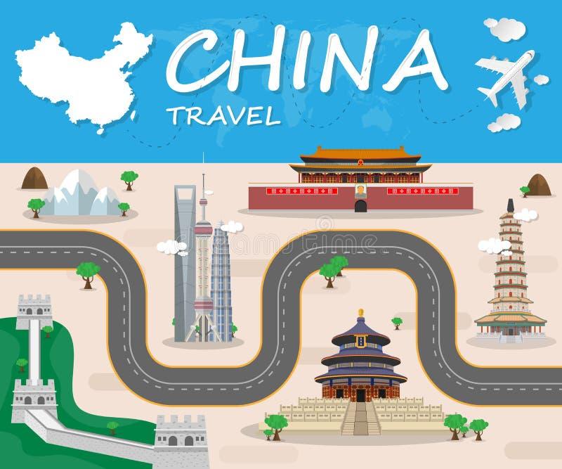Folleto global de Infographic del viaje y del viaje de la señal de China V stock de ilustración