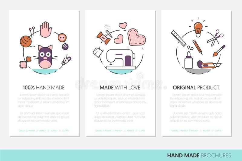 Folleto hecho a mano del negocio Costura haciendo la línea a mano fina linear iconos con las herramientas y los accesorios stock de ilustración