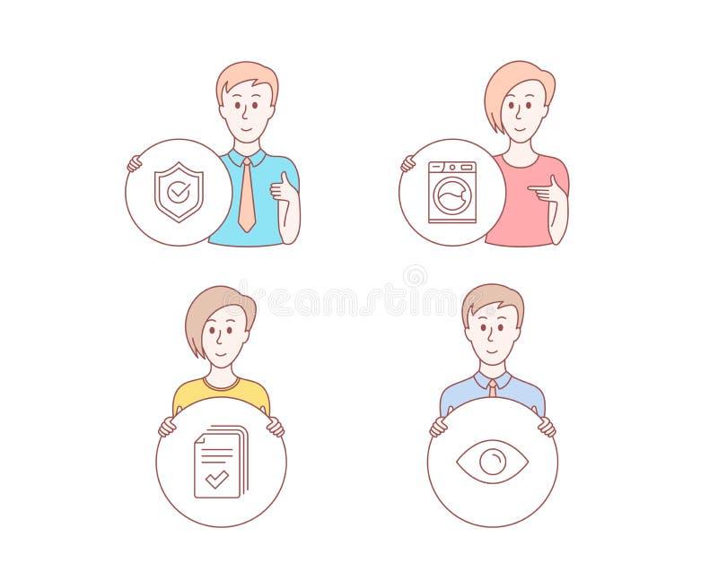 Folleto, lavadora e iconos aprobados del escudo Muestra del ojo Ejemplo de los documentos, servicio de lavadero, protección Vecto ilustración del vector