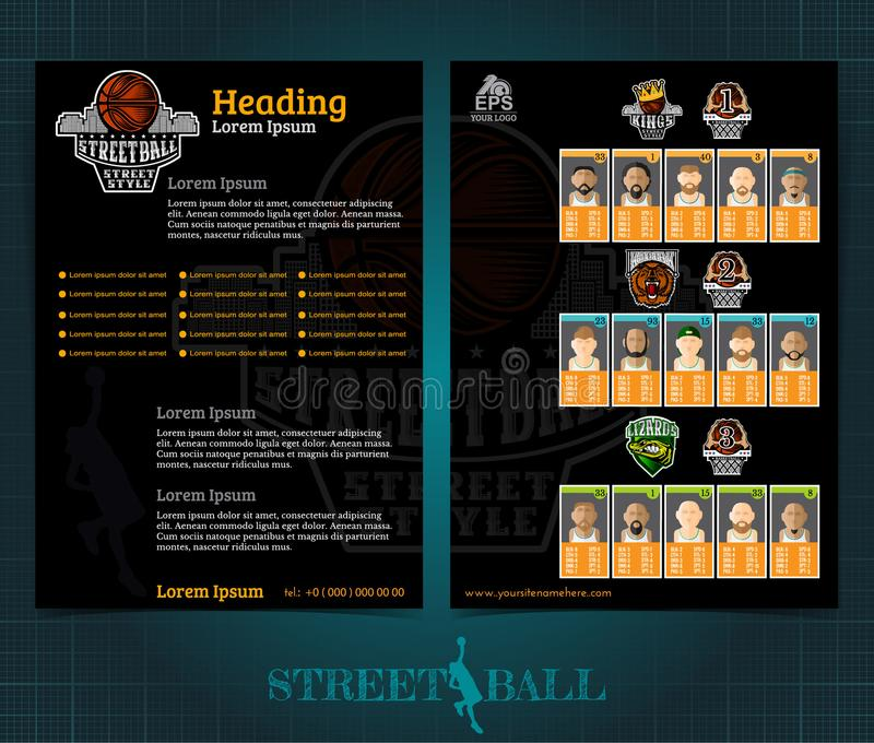 Folleto o aviador bilateral del baloncesto, diseño de la plantilla del streetball con los jugadores de equipos y logotipo Vector  stock de ilustración