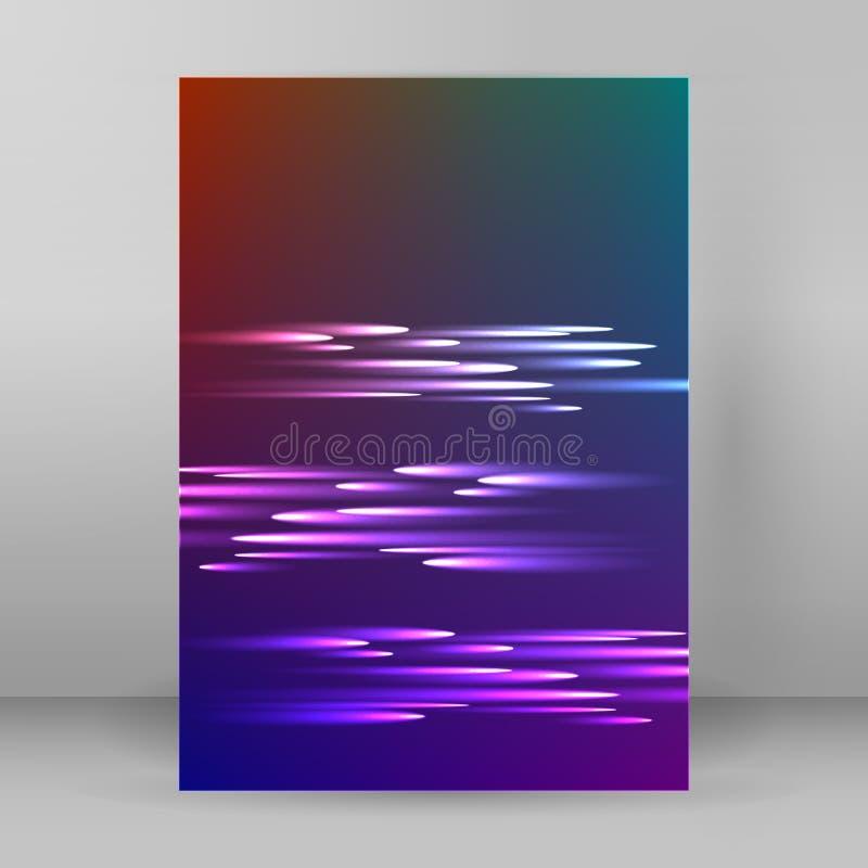 Folleto púrpura de la página de cubierta de la disposición del fondo del cometa A4 ilustración del vector