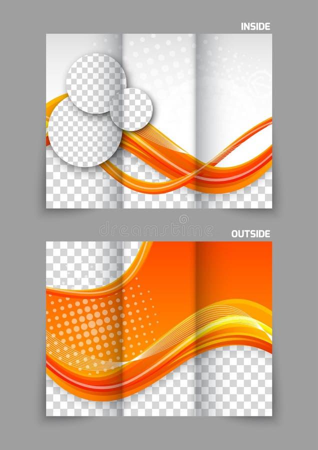 Folleto triple anaranjado ilustración del vector