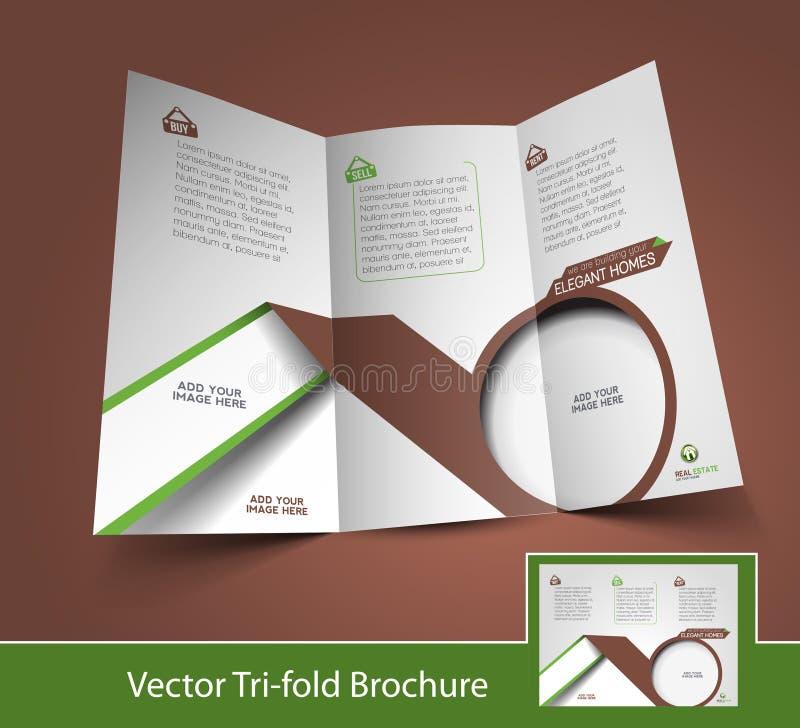 Folleto triple de Real Estate ilustración del vector