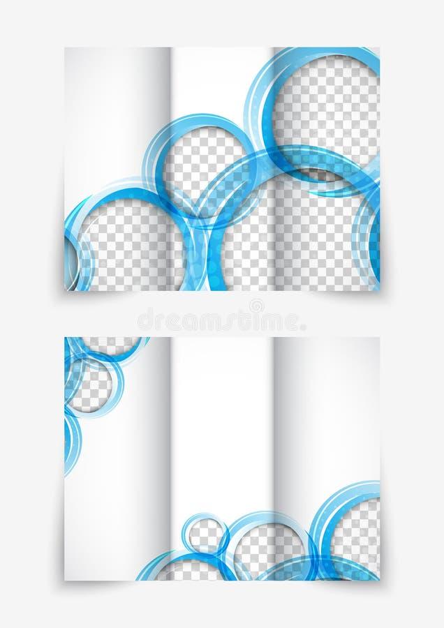 Folleto triple del diseño con los círculos azules stock de ilustración