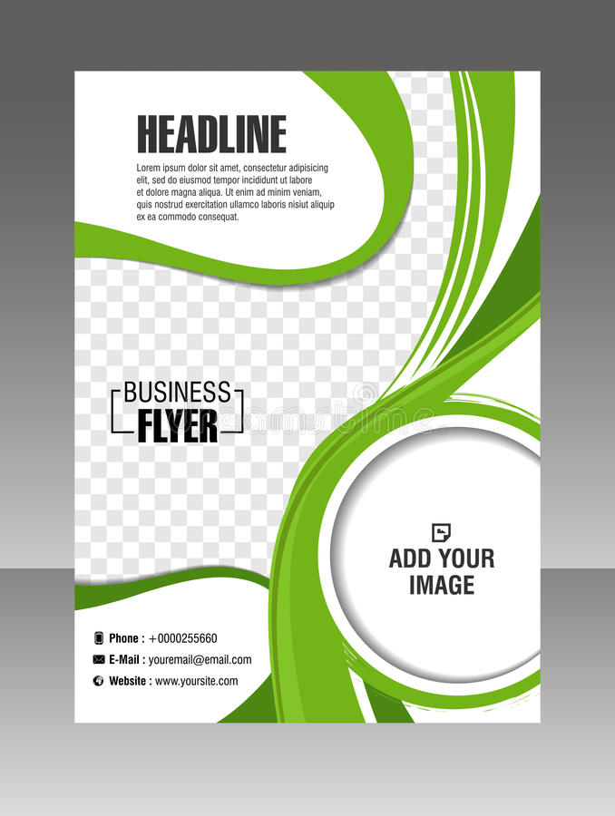 Folleto verde del negocio de la disposición Aviador de la disposición, plantilla del vector stock de ilustración