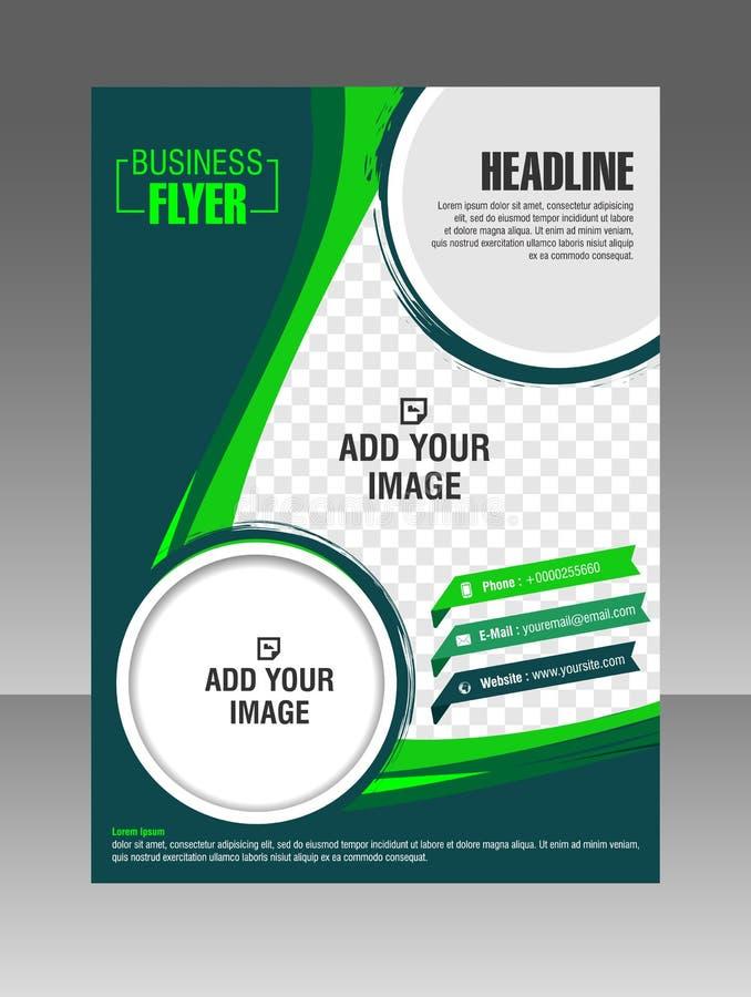 Folleto verde del negocio de la disposición Aviador de la disposición, plantilla del vector fotografía de archivo