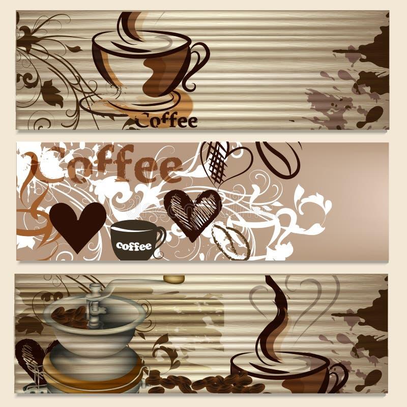 Folletos del café con las tazas y granos para el diseño ilustración del vector