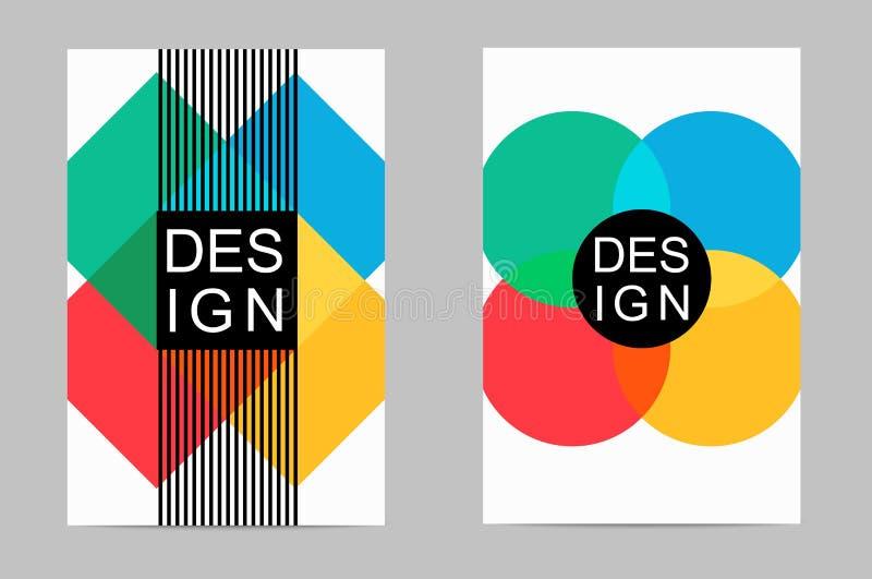 Folletos del diseño del ejemplo, revistas, prospectos promocionales Elementos coloridos geométricos en un fondo blanco libre illustration