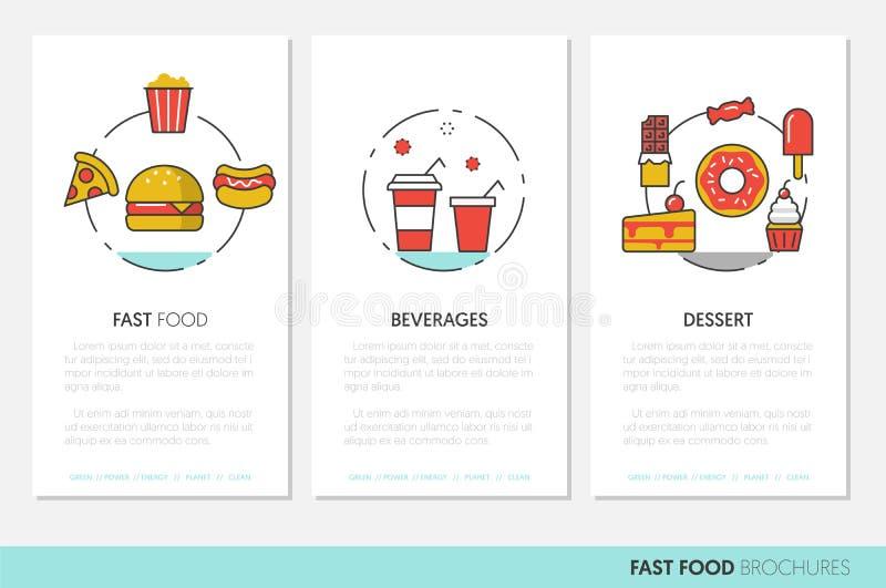 Folletos del negocio de los alimentos de preparación rápida Línea fina linear pizza y Junk Food de la hamburguesa de los iconos stock de ilustración