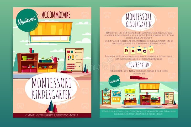 Folletos del vector con la guardería de Montessori para los niños stock de ilustración