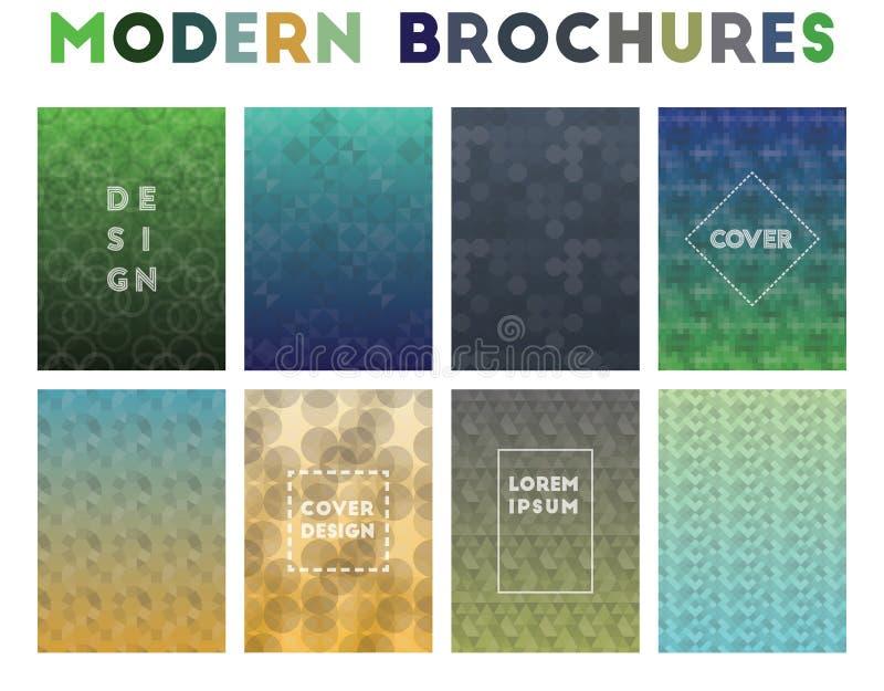 Folletos modernos Modelos geométricos de fascinación stock de ilustración