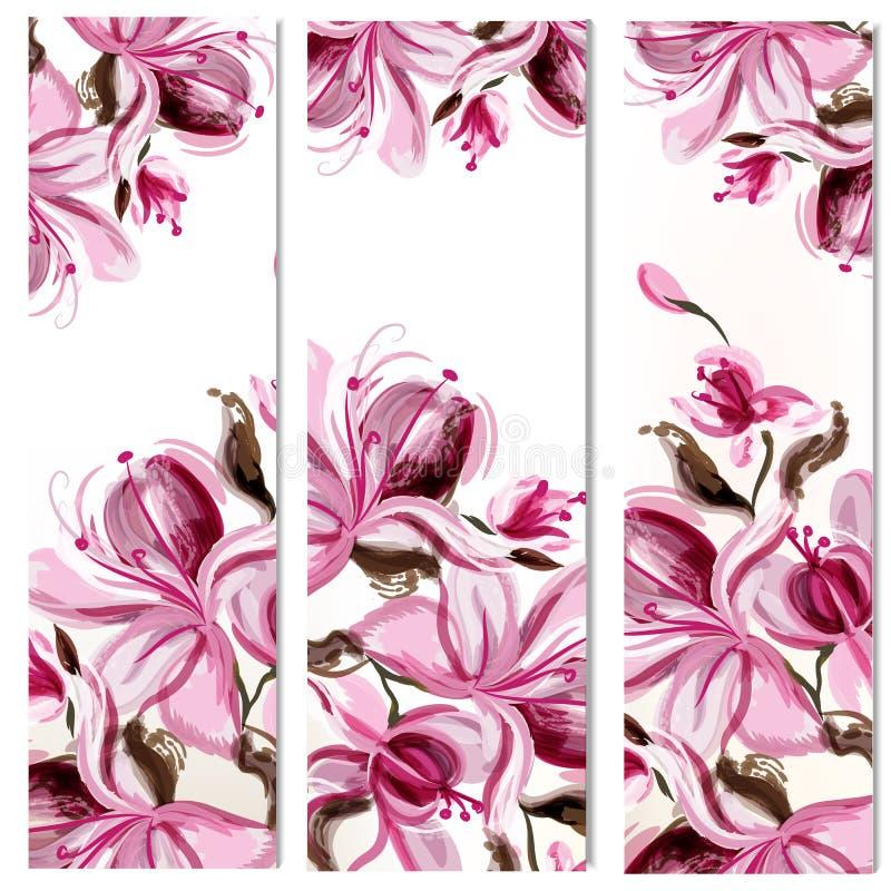 20)Folletos verticales florales fijados con las flores de la magnolia pintadas en estilo de la acuarela por los puntos ilustración del vector