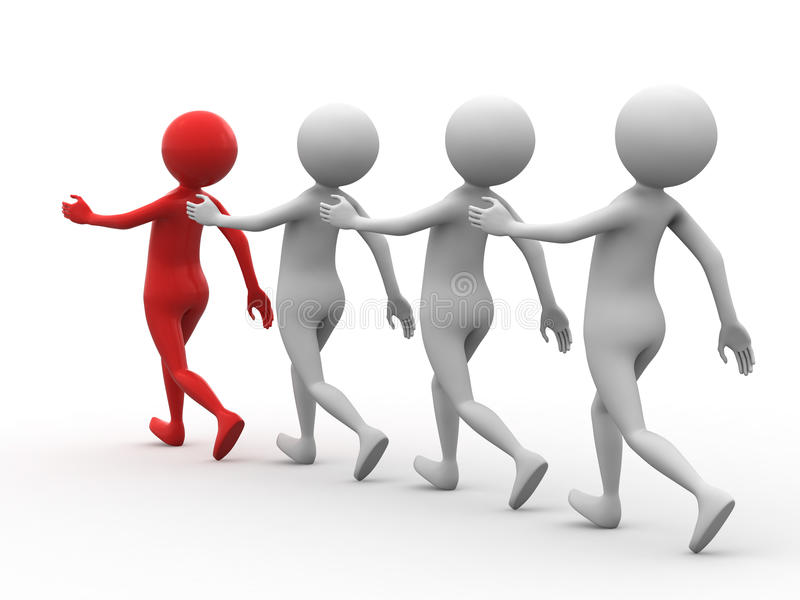 Follow the leader. An illustrated row of people following the leader royalty free illustration