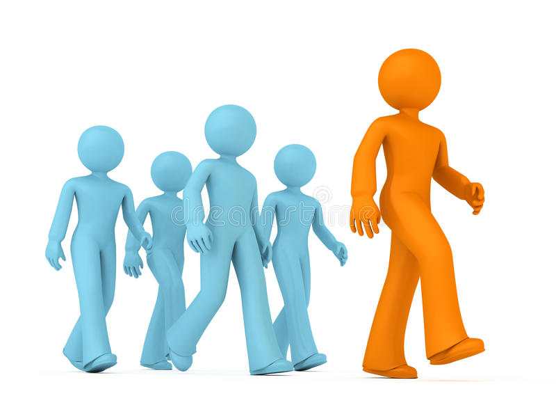 Follow the Leader. Group of 3D guys follow the leader stock illustration
