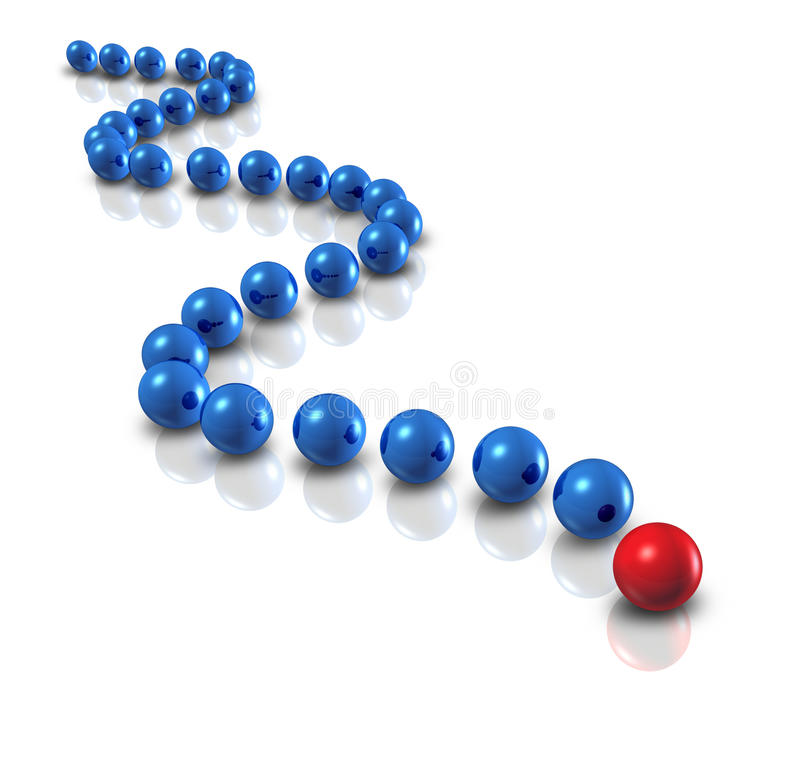 Follow the Leader. And power leadership concept with blue spheres as followers and a single red ball as the authority guiding with a plan and business group royalty free illustration