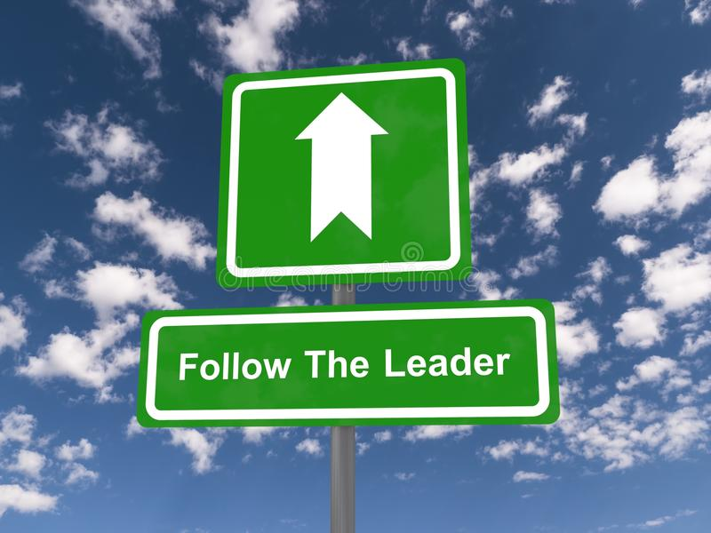 Follow the leader road sign stock photo