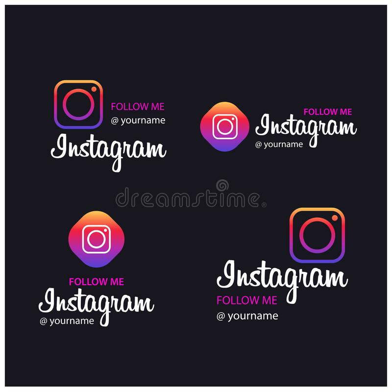 Follow Me on Instagram Banners vector illustration