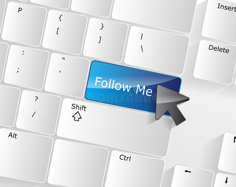 Follow me Keyboard Concept stock illustration