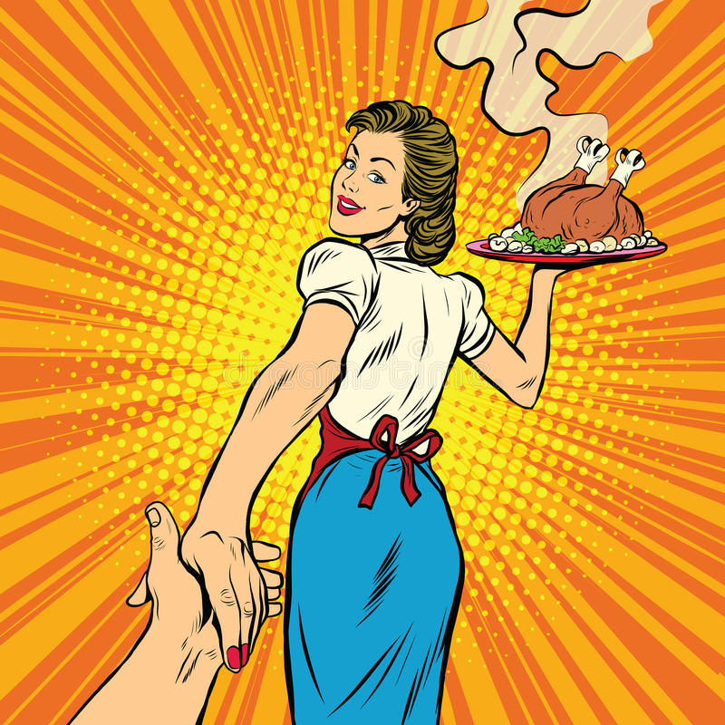 Follow me, the restaurant and delicious homemade food. Pop art retro vector illustration. A housewife and a Turkey for Thanksgiving and Christmas vector illustration