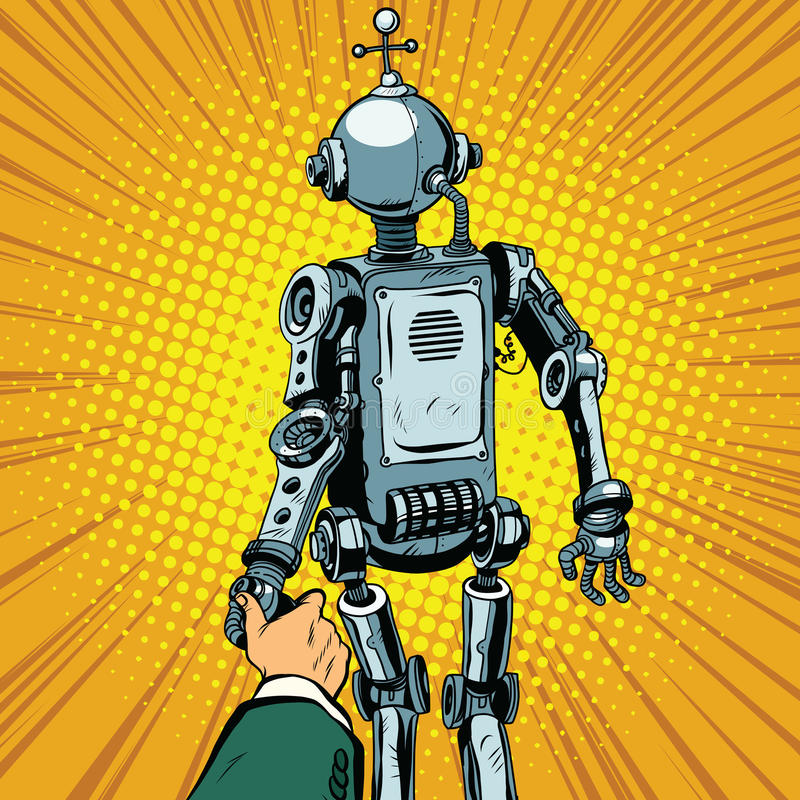 Follow me, the robot leads us forward royalty free illustration