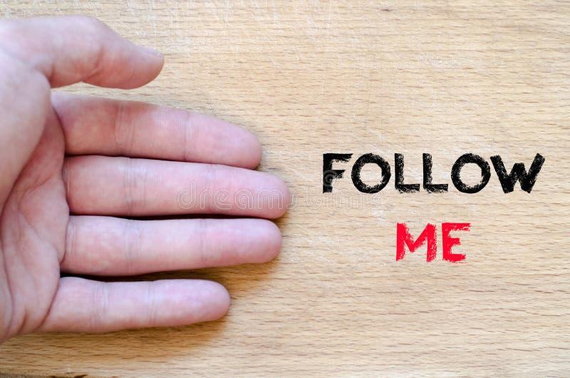 Follow me text concept stock image