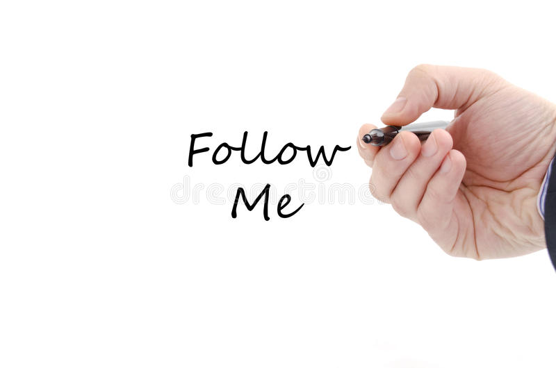 Follow me text concept royalty free stock image