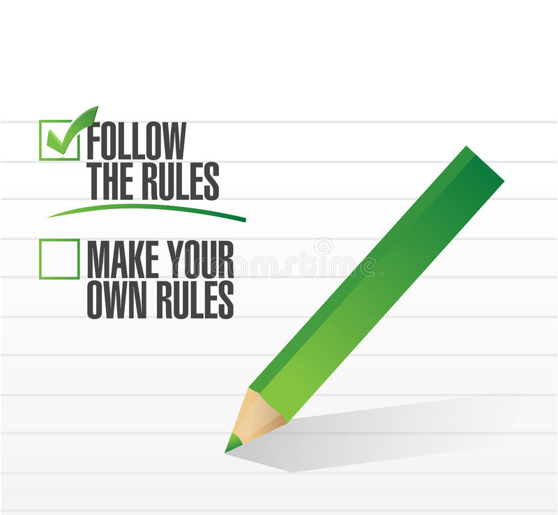 Follow the rules check of approval vector illustration